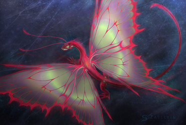 Red Dragon Moth. by Zaellrin