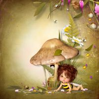 BS10-Honey, bees and daisies 4 by BelScrap