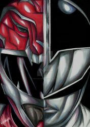 Red and Silver Ranger - Power Rangers Hyperforce by ovictorrodrigues