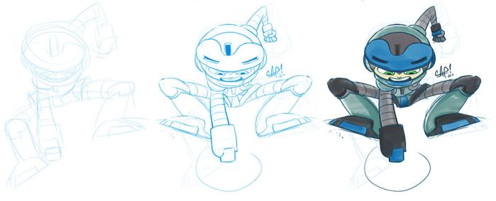 Steps and still WIP of Beck (Mighty No. 9). by carlospita