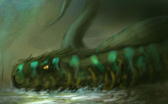 Daily Spitpaint 4: Topic: Demon Snake by RawConceptz