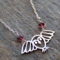 Garnet Owl Necklace II by Glamourpuss15