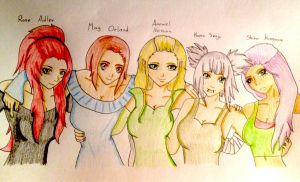 Rose, May, Amowiel, Kaoru and Shiroi by RAWRHONEY