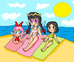 kirby girls at the beach by ninpeachlover