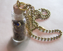 Steampunk Watch Parts Bottle by mymysticgems