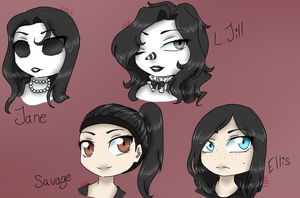Creepypasta Girls Chibi Headshot by NightmareQueenKasei