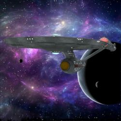 USS Enterprise Leaves Orbit by VanishingPointInc