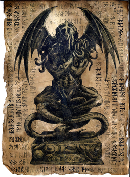 Cthulhu Idol - Necronomicon Page by WendigoMoon