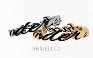 Calligraphy Rings in Platinum and Yellow Gold by annielijewellery