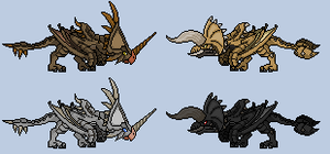 Monster Hunter Diablos and Monoblos sprite by dragonrod342