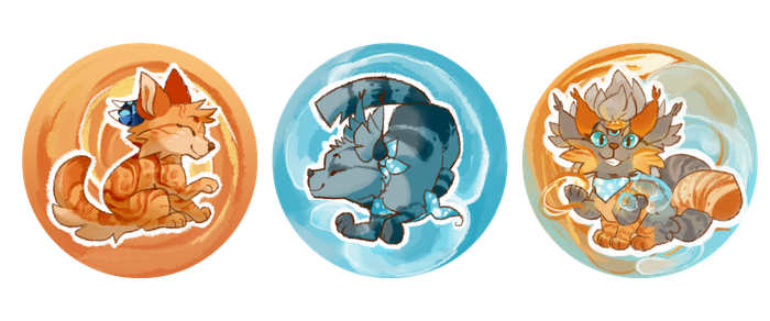 maple, finch and faple buttons by Nifty-senpai