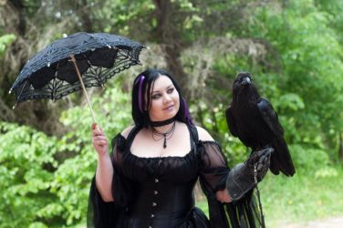 Gothic Girl With Raven by ann-emerald-stock