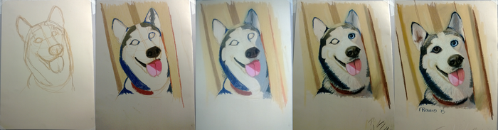 Steps painting husky with dry pastels by DarkKodKod