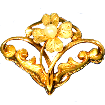 Art Nouveau Gold Scrollwork Clover and Leaves by LilipilySpirit
