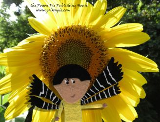 American Goldfinch Faerie and Sunflower by PoisonPiePublishing