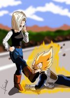 DBZ number 18 and Vegeta by Sersiso