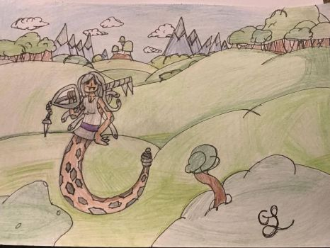 Medusa in the land of Ooo with her keyblade by GrimlockGabe