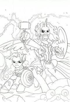 Captain Equestria and Thor: Avengers by jmkplover