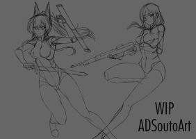 WIP Claudia and Serah by ADSouto