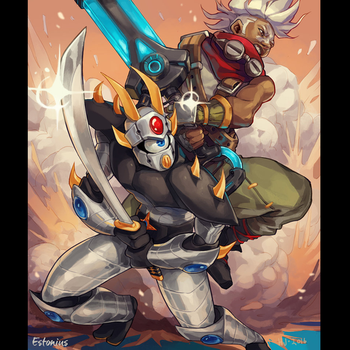 LoL'z Ekko + EST'z Dengeki Ryouji Team-up! By H.J. by Estonius
