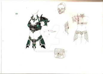 Sketch for : Druchii female leather armor by Deakath
