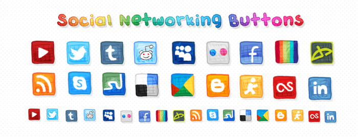 Social Networking Icons by zara-leventhal