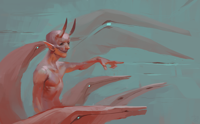 Dude with horns and something by deathnear