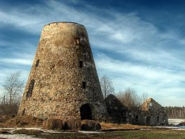 Old windmill in spring by Yancis