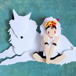 Princess Mononoke papercut by smallrinilady
