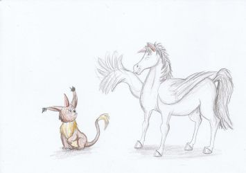 Creature Meets Wings by Louisetheanimator
