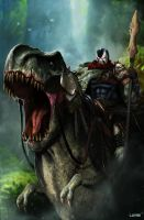 DC Comics - Riding a T-Rex by DanLuVisiArt