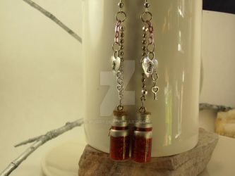 Dangle Red Glitter Earrings by purp1