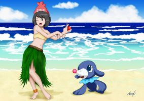 Moon trainer and Popplio by Dormant0611