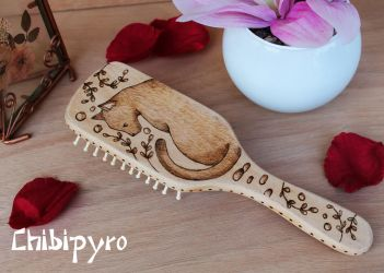 Wooden Hairbrush black cat by ChibiPyro