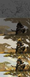 The painting process of Echeyakee, the Whitemist by 6kart