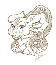 Chibi Falcor inks by Bee-chan