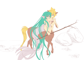 Mermaid x Centaur - lineart by Cleopatrawolf