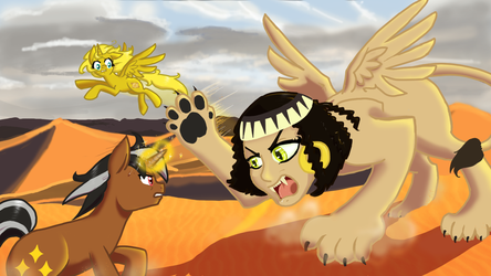 Ticket And Star Sparkler Fight A Sphinx by NaomiKnight17