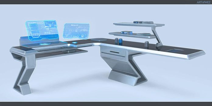 Tomorrow's Futuristic Computer Desk by W-E-Z