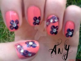 Flower Nail Design by AnyRainbow