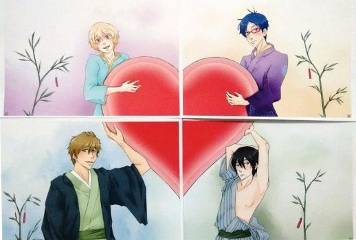 Free! Centered Hearts Art Prints (Iwatobi) by Red-Baby