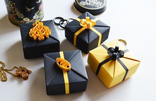 Black and Gold New Year's Origami Gift Boxes by ReverseCascade