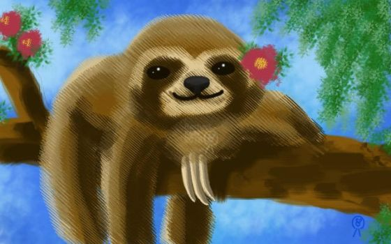 Sloth with Flowers by RachaelKels