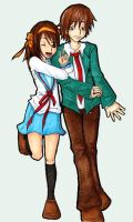 Haruhi and Kyon Collab by ConcealedShadows