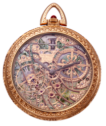 Antique Vintage Pocket Watch with Map Background by EveyD