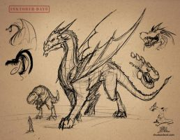 Inktober-#06-Dragon Sketches by Chadwick-J-Coleman