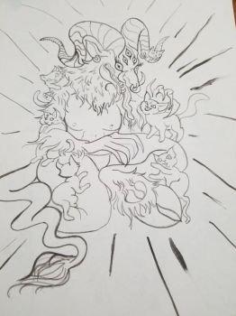 Baphomet and the kittens  by HarlieRoseDoodles