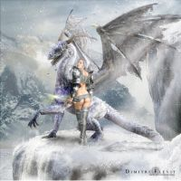 The warrior and Dragon by Elevit-Stock
