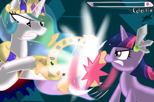 Twilight vs Celestia by chir-miru