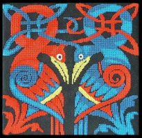 Celtic Knot Birds Cross Stitch by RaNuit